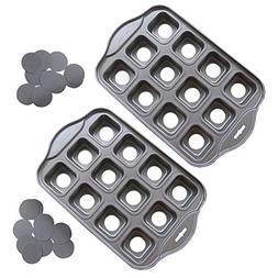 Tosnail 2 Pack 12 Cavity Mini Cheesecake Pan with Removable