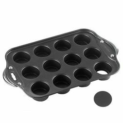 Tosnail 12 Cavity Mini Cheesecake Pan with Handles  Removabl