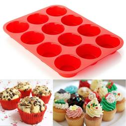12 Cup Silicone Muffin Cupcake Baking Pan Kitchen Cake Mould