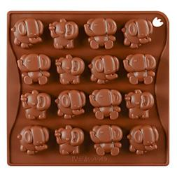 Chige 16 Cavity Elephant Candy Mold Trays, Silicone Baking P
