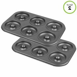 2 Pack Donut Baking Pan 6 Cavity Coffee Cake Maker Non Stick