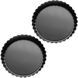 Tosnail 2 Pack Non-Stick Quiche Pan Tart Pan with Removable