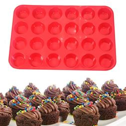 24-Cup Non-Stick Silicone Baking Mold for Muffins, Cupcakes