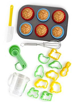 24-Piece Kids Baking Set by Boxiki Kitchen | Muffin Pan, 6 S