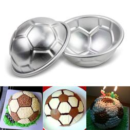 2pcs Aluminum Soccer Ball Cake Pan Tin 3D Sphere Ball Baking