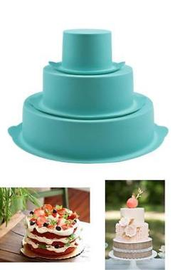 3-Tiers Round Cake Baking Mold Wedding Birthday Pans Silicon