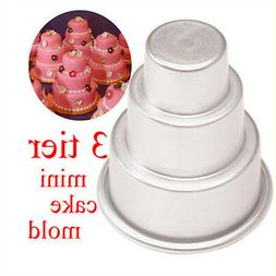 3 Sizes Baking Pan Mould Mini 3-Tier Cupcake Pudding Pastry