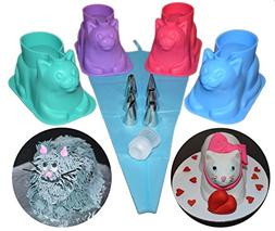 4 pack 3D Cat Shape Silicone Cupcake Molds with Decorating K