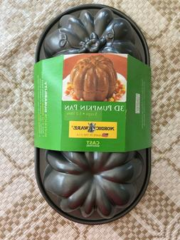 Nordic Ware 3D Pumpkin Pan Cast Aluminum Cake Pan New In Pac