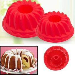 3pcs Red Silicone Bundt CAKE MOLD Kitchen Cookware Spiral Ba