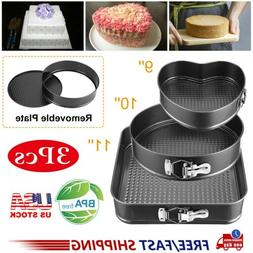 3pcs Round Spring Form Cake Non-Stick Coating Pan Tool 9/10/