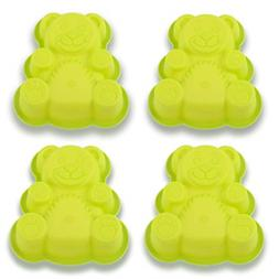 4 pack bear silicone cake molds bear