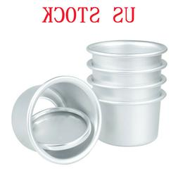 5Pcs Aluminum Round Mini Cake Pan Removable Bottom Pudding M