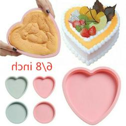 6/8 Inch Silicone Cake Mold Heart Round Mousse Bread Mould B
