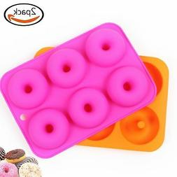 2pcs  6-Cavity Silicone Donut Baking Pan/Non-Stick Donut Mol