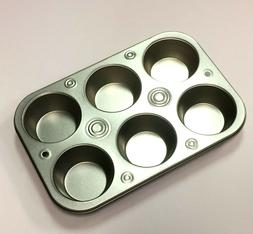 6 Cup Muffin Cooking Pan Heavyweight Steel Bakeware Baking M