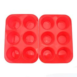 Tosnail 2 Pack 6 Cups Non-stick Silicone Muffin Pan and Cupc