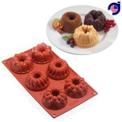 6-Cavity Mini Bundt Savarin Cake Silicone Mold Chocolate Dou