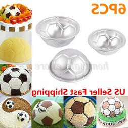 6pcs Set Aluminum Metal Sphere Ball Football 3 Size DIY Cake