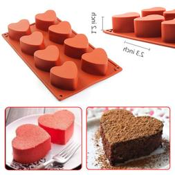 8-Cavity Heart-shaped Silicone Pudding Chocolate Mold Cupcak