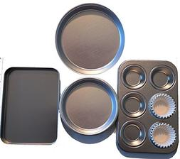 Easy Oven Bake Cake Pan 4 Pans and 25 Cup Cake Papers Set In