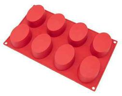 Freshware SL-118RD 8-Cavity Oval Silicone Mold for Soap, Cak