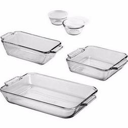 Glass Pan Baking Set Bakeware Pans Cups 7-Piece Loaf Cake Cu