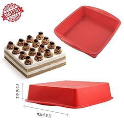 NonStick Square Cake Pan, IC ICLOVER 7 Inch Food Grade Silic