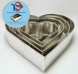 SET OF 4-PIECE HEART SHAPE CAKE BAKING PANS BY EURO TINS 6""
