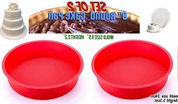 Set of 2, 9-Inch Round Cake Pan silicon cake molds for bakin
