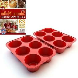 Silicone Texas Muffin Pans and Cupcake Maker, 6 Cup Large, P