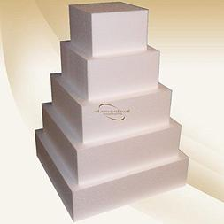 """Square 4"""" Cake Dummies - Set Of 5, Each 4"""" High By 6"""", 8"""", 1"""