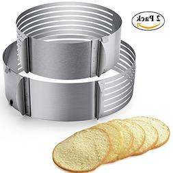 "2pcs Adjustable Layer Cake Slicer 9""-12"" and 6""-8"" Stainless"
