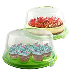 "Cake Carrier | Adorable 10"" Round Transparent Cake Storage C"