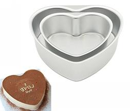 LepoHome 2 pcs Aluminum Heart Shaped Cake Pan Set DIY Baking