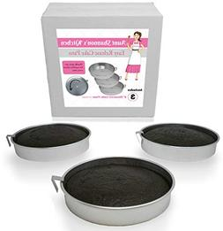 "aunt shannon's easy release cake pans - set of 3 - 8"" qu"