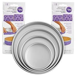 Wilton 2104-3676 Bake-Even Strips and Cake Pans Set, 8-Piece