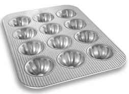 USA Pan Bakeware Mini Fluted Cupcake Pan, 12 Well, Nonstick