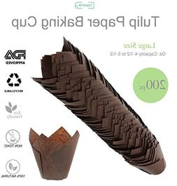 Brown Tulip Cupcake Liners, Large Size Paper Baking Cups, Tu