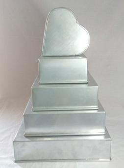 "SET OF 5 CAKE BAKING PANS 4 TIER SQUARE + 6"" HEART WEDDING C"