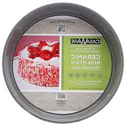 casaWare Ceramic Coated NonStick 9-Inch Round Pan, Silver Gr