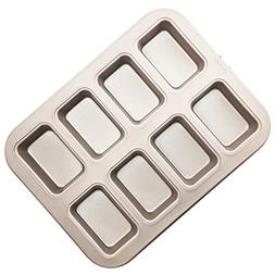 "CHEFMADE 8-cavity-3.3"" Brownie Pan, Non-stick Carbon Steel M"