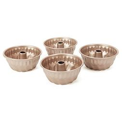 WK9033 Chefmade,4PC Mini non-stick Bundt Pan, 4-Inch,Champag