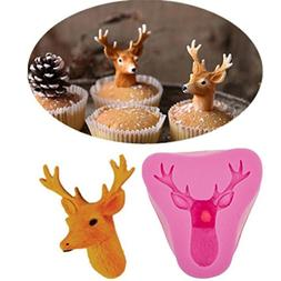 Coerni Christmas 3D Deer Head Cookie Silicone Mold