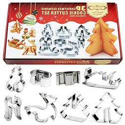 Christmas Cookie Cutters CFTech Set of 8 Stainless Steel 3D