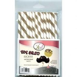CK Gold Metallic Stripe Cake Pop Sticks - 25 Count
