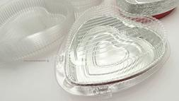 Combo Pack- 50 Red Heart Pans w/ 50 Heart Clamshell Containe