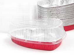 Disposable Aluminum Heart Shaped Baking/Cake Pan with Clear
