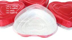 Disposable Aluminum Large Heart Shaped Cake Pan w/ Clear Lid