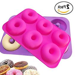2-Pack Donut Baking Pan Donut Mold Silicone Non-Stick Mold 6